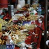 Things on Sticks. Streetside satay bar in Yangon, Burma.