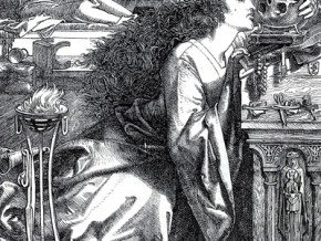Rosamund Queen of the Lombards, woodcut by F. Sandys (1866)